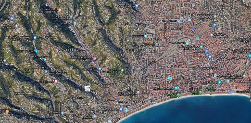 Emplacement de l'agence de diagnostics immobiliers sur Nice NiceDiagnostic et la côte d'Azur